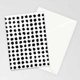 Black and White Minimal Minimalistic Polka Dots Brush Strokes Painting Stationery Cards