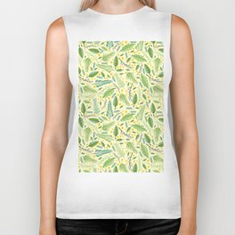 Tropical yellow green abstract leaves floral pattern Biker Tank