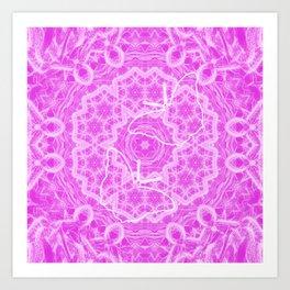 butterfly shapes on pink mandala Art Print