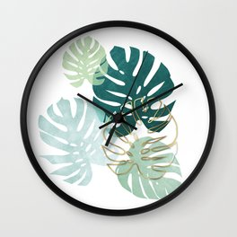 Tropical minimal / green, turquoise and gold monstera Wall Clock