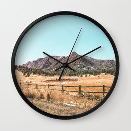 Flations Boulder // Colorado Mountain Landscape Fresh Snow Autumn Fence Teal Sky Wall Clock