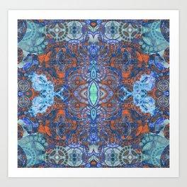 Boujee Boho Indigo Glow Tapestry Art Print Art Print