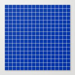 UA blue - blue color - White Lines Grid Pattern Canvas Print