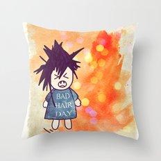 Bad Hair Day Throw Pillow