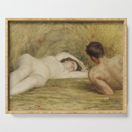 Summer idyll (1918) by Auguste Levêque (1866-1921) Serving Tray