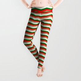 Red Green White and Gold Christmas Wavy Chevron Stripes Leggings
