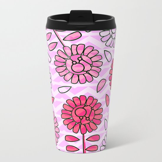 Soft pink flowers Metal Travel Mug