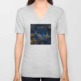 Exquisite Blue Marble With Luxury Gold Veins Unisex V-Neck