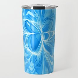Blue Jeans Colors And White, Abstract Fractal Art Travel Mug