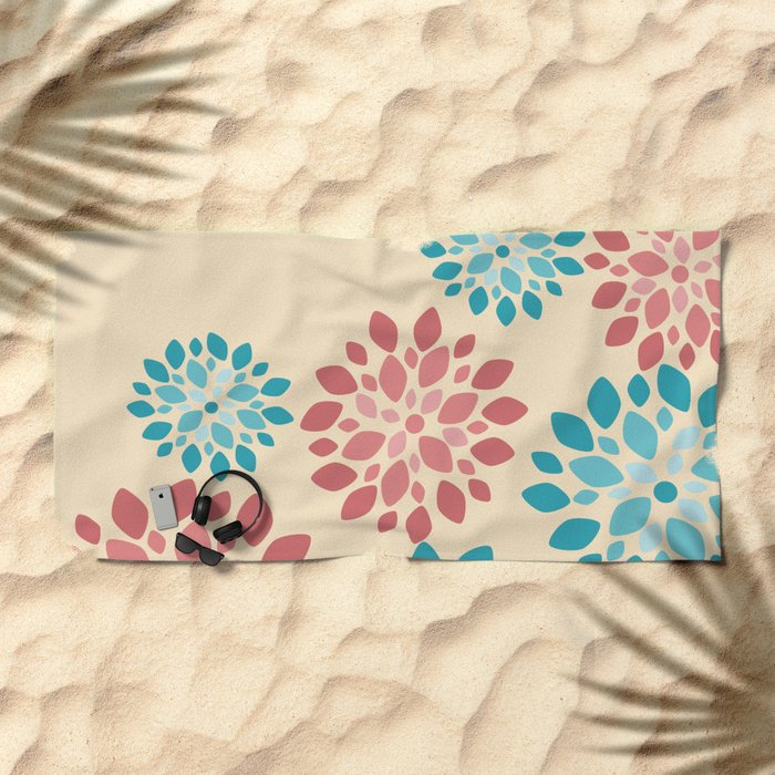 Flower Flurries Beige Beach Towel