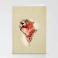 cheetah Stationery Cards featuring CHEETAH by KUI44