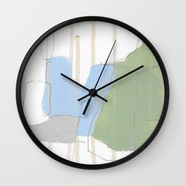 stone by stone 1 - abstract art fresh color turquoise, mint, purple, white, gray Wall Clock