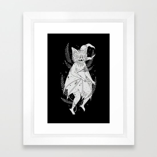 hairy bat Framed Art Print by pearlclapp | Society6