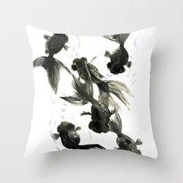 Black Moor, Feng Shui art, black fish zen painting Throw Pillow