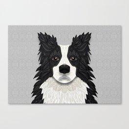 Black Border Collie Canvas Print