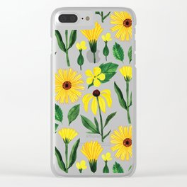 Watercolor sunshine yellow green daisies floral Clear iPhone Case