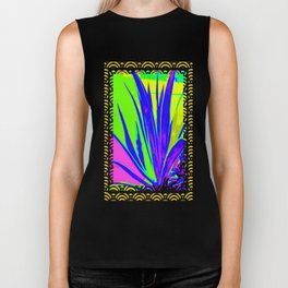 Colorful  Blue Tropical Foliage Black-Gold Color Abstract Biker Tank