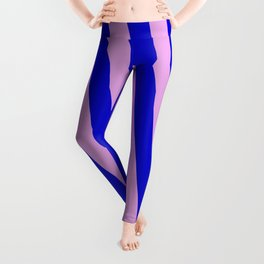 Blue and Plum Colored Striped Pattern Leggings