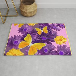 PURPLE  & YELLOW COREOPSIS  BUTTERFLIES FLORAL ART DESIGN Rug