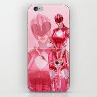 power ranger iPhone & iPod Skins featuring Pink Ranger by Isaiah K. Stephens