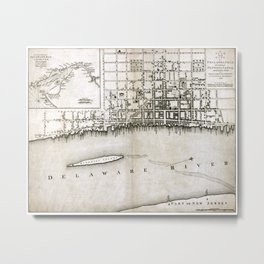 Plan of the city of Philadelphia - 1776  Metal Print