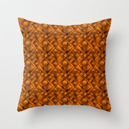 Volumetric design with interlaced circles and bronze rectangles of stripes. Throw Pillow