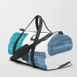 Mid Century Modern Abstract Minimalist Art Colorful Shapes Vintage Retro Style Turquoise Blue Grey Duffle Bag