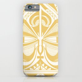 Maori Tiki - Pastel Mustard Yellow iPhone Case