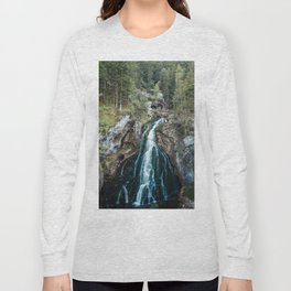 königssee waterfall alps bayern forrest drone aerial shot nature wanderlust Long Sleeve T-shirt