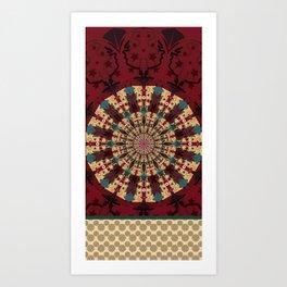 Mandala in red grená Art Print