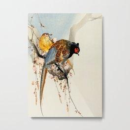 Pheasants on tree - Vintage Japanese woodblock print Art Metal Print