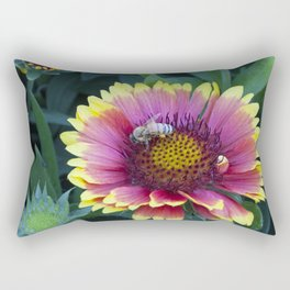 Beautiful red Sunflower with Bee Rectangular Pillow
