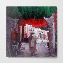 Marrakesh, Morocco: Wool Drying in Marketplace Metal Print