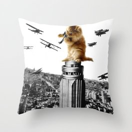 Classic King Kong Scene Cat Kitty Attack Space Galaxy Crazy Airplane Throw Pillow