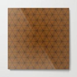 Brown wood texture geometric cubes and stars Metal Print
