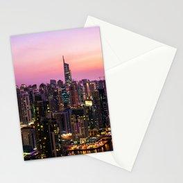 Skyline Jumeirah Lake Towers, Dubai, United Arab Emirates at Dusk Stationery Cards