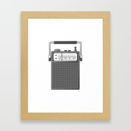 Retro portable radio. Monochrome vintage style illustration Framed Art Print