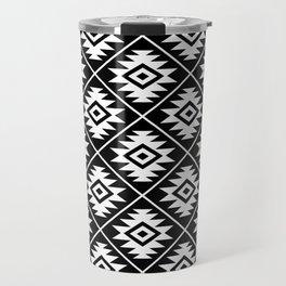 Aztec Symbol Pattern White on Black Travel Mug