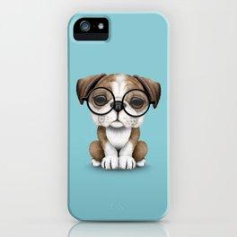 Cute English Bulldog Puppy Wearing Glasses on Blue iPhone Case