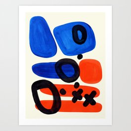 Blue Orange Fun Colorful Mid Century Modern Abstract Painting Shapes Pattern Art Print