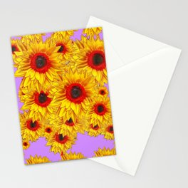 Lilac Purple & Red Center Sunflowers Pattern Stationery Cards