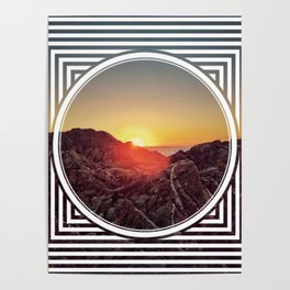 Peel Sunset  - line/circle graphic Poster