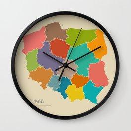 Poland map artwork color illustration Wall Clock