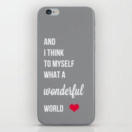 Wonderful world typogrphy iPhone Skin