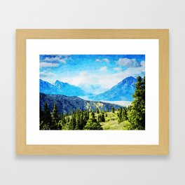Watercolor Painting of Kluane National Park and Reserve of Canada Framed Art Print