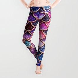 Pink & Purple Trendy Glitter Mermaid Scales Leggings