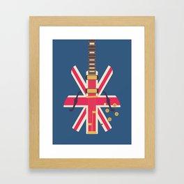 Union Jack Flag Guitar - Navy Framed Art Print