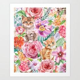 Kittens in flowers Art Print