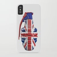 british flag iPhone & iPod Cases featuring British grenade by GrandeDuc