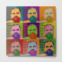 El Chapo retro Mugshot Metal Print